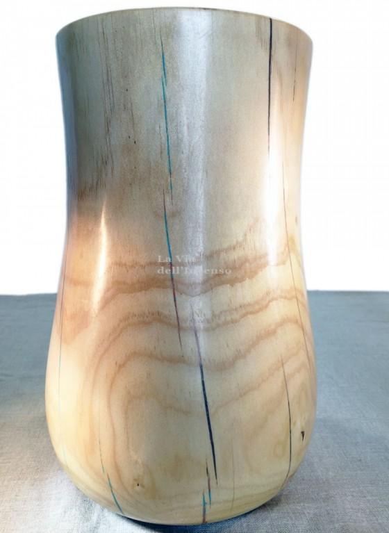 Minimalist vase with blue details, pine wood