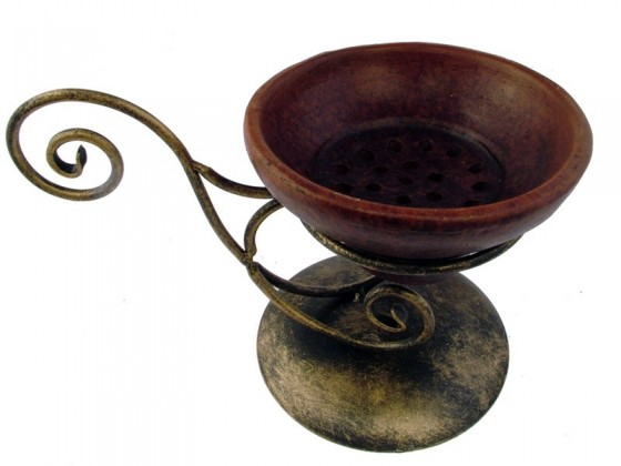 Incense burner iron with stone bowl
